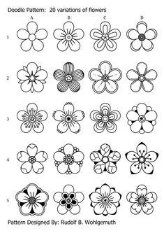 20 variations of flowers Doodle Art flowers variations Doodle Art For Beginners, Easy Doodle Art, Doodle Art Designs, Doodle Art Drawing, Zentangle Drawings, Mandala Drawing, Zentangle For Beginners, Drawing Ideas, Doodles Zentangles