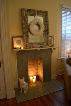 Winter white chabby-chic chateau mantel