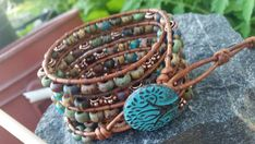 Check out this item in my Etsy shop https://www.etsy.com/listing/455044964/five-wrap-leather-bracelet-rustic-copper