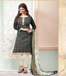 Buy Black embroidery cotton unstitched salwar with dupatta dress-material online