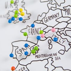 Personalised world travel map with pins travel maps bedrooms beautifully hand illustrated travel maps personalised with colourful push pins to depict your own gumiabroncs Choice Image