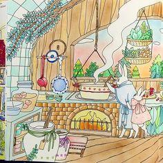 Instagram media ku._.uchan - #塗り絵 #大人の塗り絵 #コロリアージュ #森の生き物と素敵なおうちの暮らしぬりえブック #kuuchan森の生き物と素敵なおうちの暮らしぬりえブック 左ページ