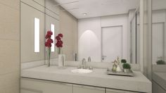 Decoração de apartamento pequeno, decoração minimal, banheiro, luz natural, marcenaria, lavanda, decor, bancada branca, revestimento.