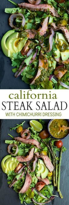 A paleo California Steak Salad filled with grilled onions, arugula, avocado, asparagus, charred Steak and covered in zesty Chimichurri Dressing. Fresh, light, high in protein and freakin delicious! You need this! | joyfulhealthyeats... #glutenfree #paleo