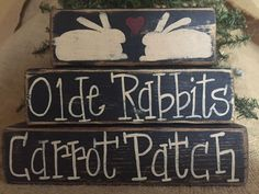 Primitive Country  Olde Rabbits Carrot Patch Easter Shelf Sitter Wood Block Set #PrimtiveCountry