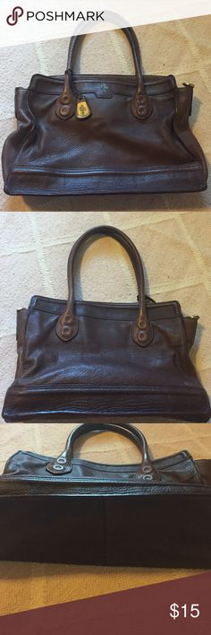 Brown leather Cole Haan Brown leather Cole Haan tote.  Does not come with long strap.  Some wear on bottom- see pic. Cole Haan Bags Totes