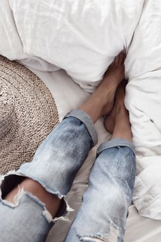 holy jeans (and i do mean holy~ lol), white linens, straw hats,  and sweet summertime~ summertime!
