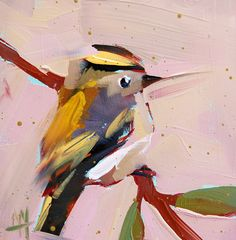 Kinglet no. 25 original bird oil painting by Angela Moulton 5 x 5 inch on panel $40
