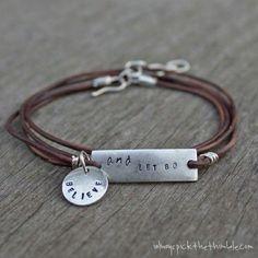 DIY Leather Wrap Stamped Metal Bracelet