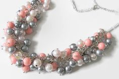 Bridesmaid Pearl Cluster Necklace Swarovski by SeagullSmithJewelry, $35.00