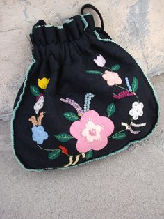 Vintage 1950s Purse Applique Flowers Felt by bycinbyhand on Etsy