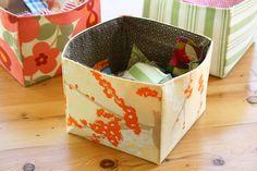 Fabric box http://sometimescrafter.blogspot.com/2009/04/tutorial-fabric-scrap-basket.html