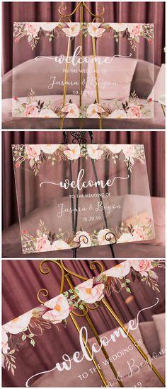 Blush and pink custom acrylic wedding welcome sign for blush themed wedding Pink Wedding Theme, Our Wedding, Dream Wedding, Blush Pink Wedding Flowers, Wedding Suits, Summer Wedding, Wedding Stuff, Diy Wedding Welcome Sign, Wedding Stationery