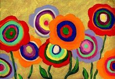 Modern Folk Art ABSTRACT FLOWERS Original di johnblakefolkartist