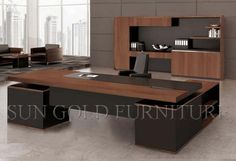 Office Desk with Wood Veneer Skin MDF Executive Desk picture from Foshan Sun Gold Furniture Co. view photo of Executive Desk, Office Desk, Office Table.Contact China Suppliers for More Products and Price. Office Table Design, Office Furniture Design, Office Interior Design, Office Interiors, Home Interior, Office Designs, Executive Office Furniture, Modern Office Desk, Ceo Office