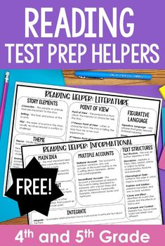 Free Reading Test Prep Helpers | 4th and 5th Grade Test Prep