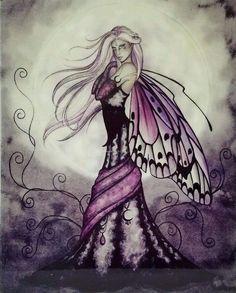 Fantasy Gothic Fairy Ceramic Wall Art Decor Hanging Dark Purple Plaque Butterfly #Wallart