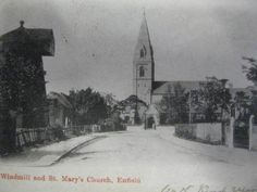 """RARE1903 POSTCARD. """"OLD WINDMILL AND ST MARY'S CHURCH """", ENFIELD. LONDON 