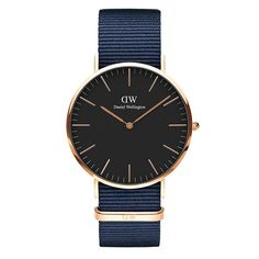 Daniel Wellington Classic Black Cornwall Rose Gold-Tone and Black Watch with NATO Strap Daniel Wellington Classic, Daniel Wellington Watch, Nato Armband, Dw Watch, Rose Watch, Bracelet Nato, Nato Strap, Rose Gold, Kawaii