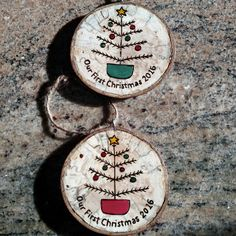 Wedding coming up? What a great gift for the bride and groom! A personalized ornament for their tree that they can enjoy year after year. We are adding new personalized ornament options weekly. Wooden Christmas Ornaments, Christmas Ornament Crafts, Wood Ornaments, Christmas Gift Tags, Homemade Christmas, Christmas Projects, Holiday Crafts, Christmas Crafts, Christmas Decorations