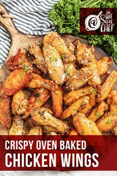 Make perfectly crispy Oven Baked Chicken Wings with this easy method, including seven different flavor options for wings everyone will love. This recipe is a game day favorite! #ovenbakedchickenwings #chickenwings Baked Chicken Wings Buffalo, Crispy Baked Chicken Wings, Stay At Home Chef, Yummy Chicken Recipes, Game Day Food, Yummy Appetizers, Food Inspiration, Poultry, The Best