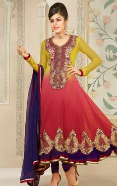 YELLOW, PINK & PURPLE FAUX GEORGETTE ANARKALI SALWAR KAMEEZ - VP 2800
