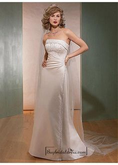 Beautiful Elegant Satin Sheath Strapless Wedding Dress In Great Handwork