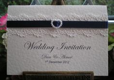 C0001b Pure Innocence Lace Navy Blue Ribbon Wedding Invitation, Vintage Lace Wedding Cards