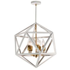 ARC-185C-WH-VB | 5 Light Chandelier, Matte White with Vintage Bronze Accents - ARC-185C-WH-VB