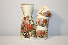 Vintage Small Saki Set, Made in Japan Tea Set, Porcelain Lotus Flower, Cerry Blossom