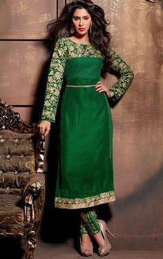 Contemporary Bottle Green Color Wedding Salwar Kameez
