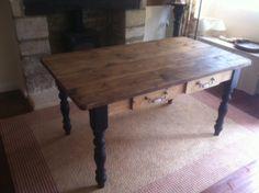Shabby chic farmhouse table with black legs / Pub tables