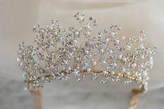Delicate Elegant Crystal bridal Tiara, Swarovski Crystal Tiara, Wedding Tiara, Crystal Headpiece, Silver Princess Tiara Bridal Hair Vine, Bridal Tiara, Flower Belt, Princess Tiara, Headpiece, Vines, Swarovski Crystals, Delicate, Ceiling Lights