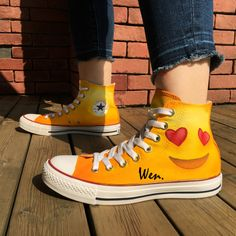a9a1b2b8c710 Emoji Hand Painted Shoes Man Woman s Converse Chuck Taylor Canvas Sneakers
