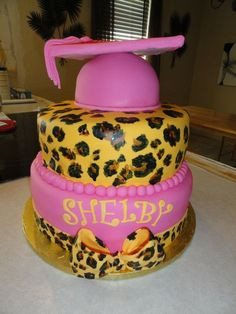 Graduation+Cakes+for+Girls | pink and leopard print graduation cake. The girl that wanted this cake ...