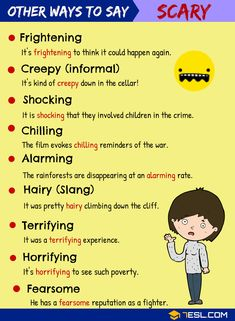 SCARY Synonyms: Synonyms for SCARY in English SCARY Synonyms! In this lesson, you will learn different Synonyms for SCARY in English with example sentences to increase your vocabulary in English. English Learning Spoken, Teaching English Grammar, English Writing Skills, English Language Learning, German Language, Japanese Language, Teaching Spanish, Spanish Language, French Language