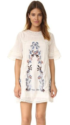 Free People Perfectly Victorian Embroidered Mini Dress, cream (floral white short sleeve) $168 | Shopbop