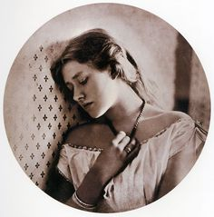 """""""Sadness"""", Ellen Terry at the age of 16 by Julia Margaret Cameron. Carbon print photograph, 1864."""