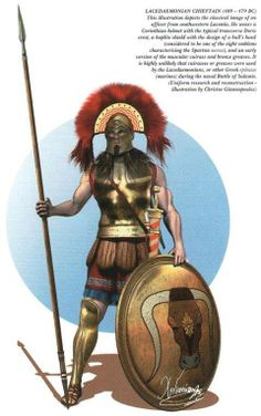 From Christos Giannopoulos, a print showing a Spartan or Lakedaemonian, from the period of 489-479BCE. He wears the favorite transverse crest upon his Corinthian helmet, a muscled cuirass, and carries an aspis bearing the bull's head with down-turmed horns. This identifies the warrior as a member of the mora of Elos, hailing from the southeastern part of Lakonia