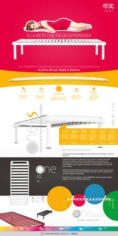 Infografica sui modelli ONE, ONE colors e ONE-S di MOOD25 - per un riposo migliore reti a doghe in plastica - www.dogheinplastica.it