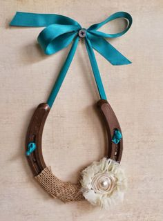 Good Luck Horseshoe Wall Hanging, Shabby Chic Decor, Wedding Gift, Burlap and Flower, Housewarming Gift, Ribbon, Bronze Horseshoe