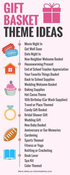 Wedding Gift Ideas List of DIY Gift Basket Theme Ideas - Best DIY gift baskets for holidays, birthdays, Mother's Day and more! Including free printables and DIY gift basket theme ideas. Theme Baskets, Themed Gift Baskets, Diy Gift Baskets, Raffle Baskets, Basket Gift, Gift Basket Themes, Creative Gift Baskets, Holiday Gift Baskets, Fundraiser Baskets