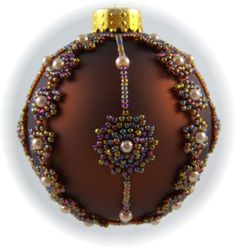 Beaded Ornament Cover Instructions | Snow Flurries Ornament Cover Kit Brown