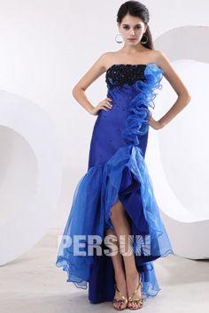 Applikation High Low Rüsche Brautkleid aus Satin mit Pinsel-Schleppe