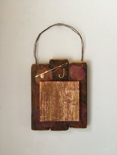 Fishing Home Decor, Cabin, Lodge, Leaves, Engraved Wood, Rustic Wall Art, Small Painting, Red Brown Gold, Office, Gift For Him, Country