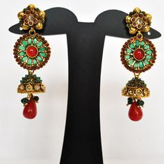 Green and Red Imitation Earring