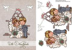 The Happy Couple on Craftsuprint designed by Barbara Alderson - step by step decoupage on a card front  - Now available for download!