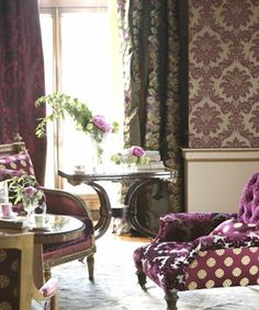 FLOCKED WALLS, CLASSY DRAPERIES, VELVET TUFT ALBERGINE CHAIRS~