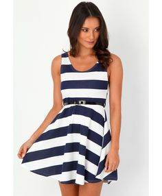 Jazzy Striped Skater Dress - dresses - missguided