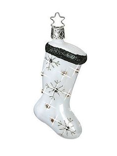 Inge's Christmas Decor Glitzy Stocking Glass Ornament - Black